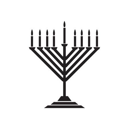 Menorah hanukkah icon. Jewish Holiday symbol menorah - light candelabra with candles silhouette isolated white background. Flat web sign, Israel Holiday symbol, vector concept logo, label - illustration.