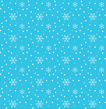 White snowflakes falling on blue background seamless pattern, Christmas snow cartoon illustration.