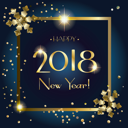 2018 Elegant Happy New Year greeting card with gold snowflakes, confetti, glowing lights effect vector Christmas decoratin.