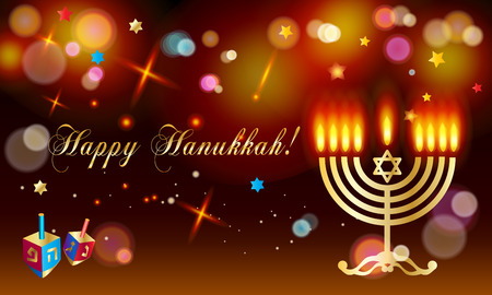Happy Hanukkah Jewish Holiday greeting card with donuts - traditional cookie, dreidel, candles flame, candelabrum, bokeh lights abstract background, defocus lights effect, festival of lights Israel wallpaper.