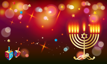 Happy Hanukkah Jewish Holiday greeting card with dreidel - spinning top, menorah, eight candles with flame, candelabrum, bokeh abstract background, defocus lights effect, festival of lights Israel poster, vector template. Illustration
