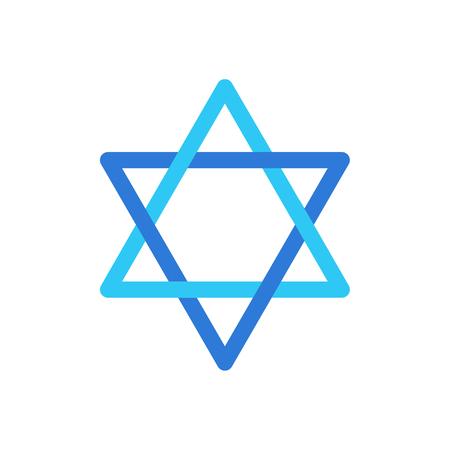 데이비드의 스타 흰색 배경에 고립 된 데이비드의 푸른 색 기호 유대인 휴일 기호, 이스라엘 플래그, 이스라엘 스타 스티커 아이콘 평면 디자인.