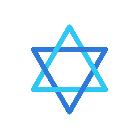 Star of David blue color symbol isolated on white background, David's star Jewish Holiday sign, Israel flag , Israeli star sticker, icon flat design.