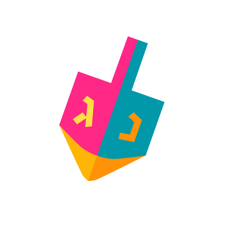 Hanukkah Dreidel icon a small four-sided spinning top with a Hebrew letter on each side. Dreidel isolated on white background, symbol of Chanukah Jewish Holiday festival of lights logo flat design. Illustration