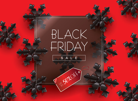 Black Friday Sale banner black snowflakes on red background with square black frame, red price tag advertising design.