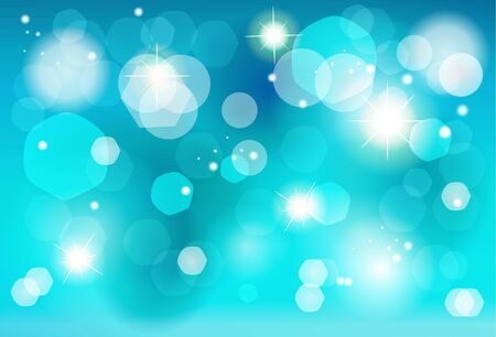 Blue bokeh lights, defocused blurred sparkles Christmas, New Year Winter Holiday background vector template.