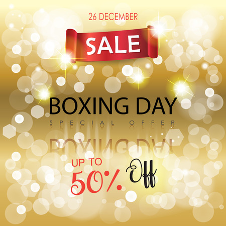 Boxing Day Sale discount gold bokeh lights poster. Red ribbon banner with title on glitter, golden defocus lights, blurred sparkles background, Christmas and New Year Winter Holiday Sales shopping card, gift, voucher.