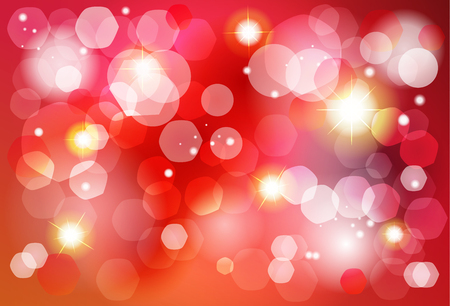 Abstract bokeh lights red shine background for Birthday, Wedding Day, Winter Holiday Christmas, Valentines Day. Vector festive defocused lights, blurred sparkles, glitter golden confetti template.