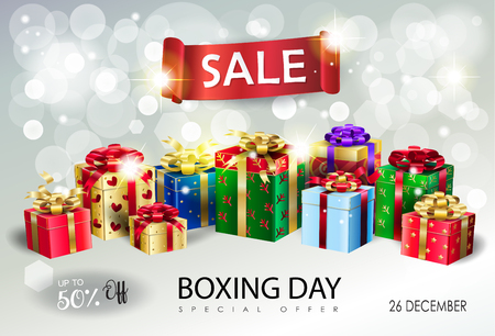 Boxing Day Sale poster with gift boxes and red ribbon banner on bokeh lights sparkles silver background template presents for Christmas and New Year winter holiday.