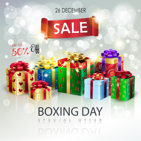 Christmas Winter Holiday Boxing Day Sales banner with beautiful presents advertising flyer vector bokeh lights background. Vettoriali