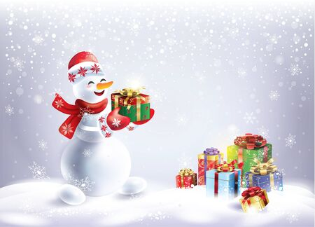 Snowman with gifts on winter snowy landscape realistic illustration for Christmas and Happy New Year Holiday invitation card.
