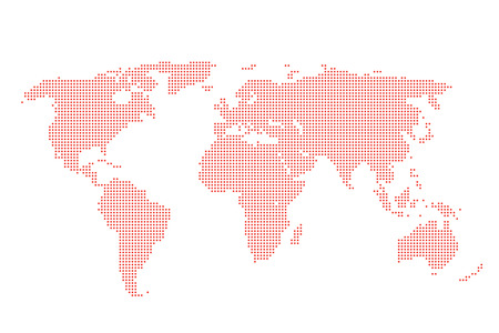 World map of dots background, Dotted World Map - red world map silhouette isolated on white, vector cartography template concept icon social media travel wallpaper.