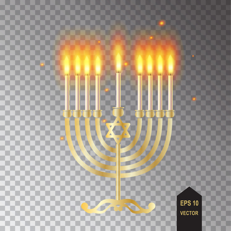 Hanukkah menorah isolated transparent lights effect candelabra and candles realistic flame and sparkles vector illustration Chanukah Jewish Holiday symbol decoration.