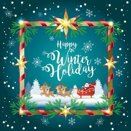 Happy Winter Holiday greeting card with Santa Clous, reindeer, Christmas decoration. Retro style. Ilustração