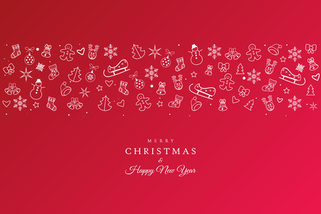 Happy New Year and Xmas greting red card with white lined icons flat christmas symbols illustration modern design.