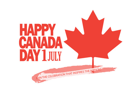 Happy Canada Day poster with maple symbol.
