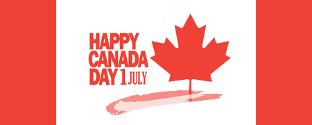 Happy Canada Day patriotic poster with maple leaf  Canadian flag symbol.