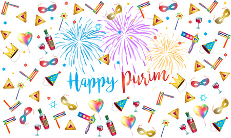 Happy Purim Jewish Holiday greeting poster with purim traditional symbols and fireworks illustration. Illustration