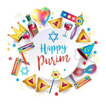 Happy purim jewish holiday greeting card with traditional purim symbols, noisemaker, masque, gragger, hamantachhen cookies, crown, star of david, festival decoration.