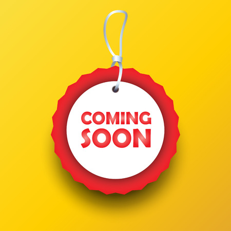 Coming Soon - symbol sign tag icon yellow background concept design.