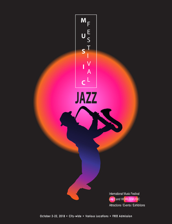 Jazz Music and Modern Dance Festival abstract futuristic design poster with musician saxophone player on black background.