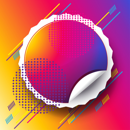Abstract festival poster with colorful sticker for text on modern dynamic colorful shapes and sunset background.