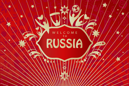 Welcome to Russia inscription, Russian Folk Art elements, soccer ball, stars, dynamic red color pattern, world travel, template. Çizim
