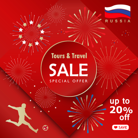 Sale discount banner, welcome to russia, international world travel, fireworks gift card with sports, award football symbols, soccer ball, Russian folk art elements, balalaika, flag, vector template. Stock Illustratie
