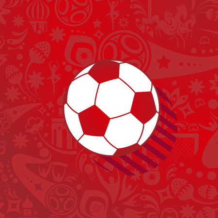 Soccer ball icon label abstract dynamic sports red pattern with football symbols, russian folk art elements template.