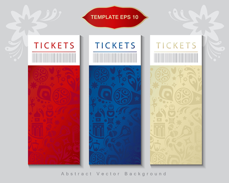 Soccer international world competition, abstract tickets concept design with dynamic shapes red, blue, beige color - set russian folk art elements, sports symbols, soccer ball, balalaika, travel template.