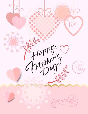 Happy Mother's Day greeting card with hearts shapes, calligraphy lettering, floral pink background.