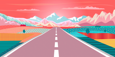 Summer painting poster Road trip to rocky mountains, car, blue sky airplane, rural landscape, Adventures in nature, Traveling, Voyage, Camping, outdoor recreation, highway illustration.