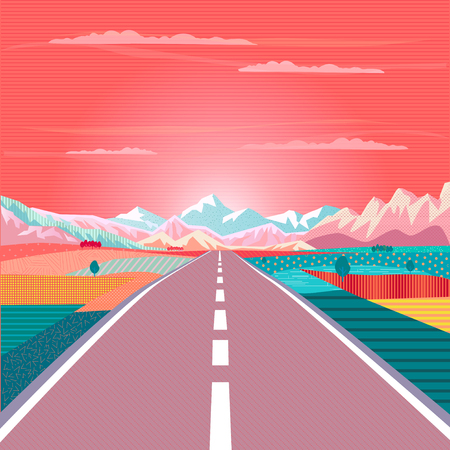 Summer painting poster Road trip to rocky mountains vector illustration.