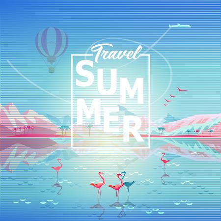 Paradise Summer painting poster Rocky Mountains reflection summer vector illustration. Illustration