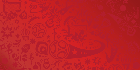 Russia 2018 wallpaper soccer competition banner with sports, football, award cup, soccer ball symbols Russian folk art elements red color.