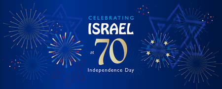 Israel 70 anniversary Independence Day text festive greeting poster Jewish Holiday Jerusalem banner with Israeli blue star fireworks 2018 design. Vectores
