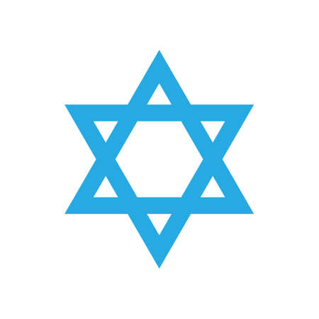 Israeli blue star icon isolated on white background David's blue star logo Israel Independence day.  イラスト・ベクター素材