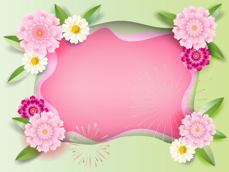 Floral beautiful decoration with place for wishes text for celebrate Happy Mother's Day, Women's Day, Valentine's Day, Anniversary, Wedding day greeting card or invitation, cut paper - texture.