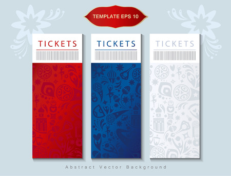 Welcome to Russia tickets invitation Russian flag color traditional pattern sports symbols, soccer ball, award cup, banners set. Illustration