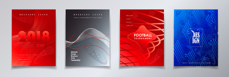 World competition abstract brochure coves set with sport symbols, soccer ball and Russian folk art traditional elements.