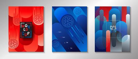 Calas de folleto abstracto de competencia con símbolos deportivos, balón de fútbol y elementos tradicionales populares rusos.