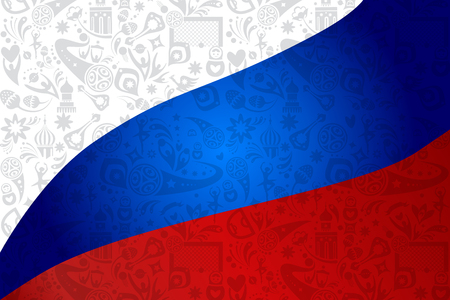 Flag of Russia abstract background with sports, football symbols pattern, soccer ball, award cup, russian world, traditional elements.