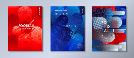 World competition abstract banners with sports, football, award cup, soccer ball symbols, Russian flag color - set. Illustration