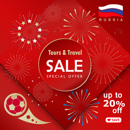 Sale world of Russia red banner with Russian flag, sports symbols, soccer ball, award cup. Illustration