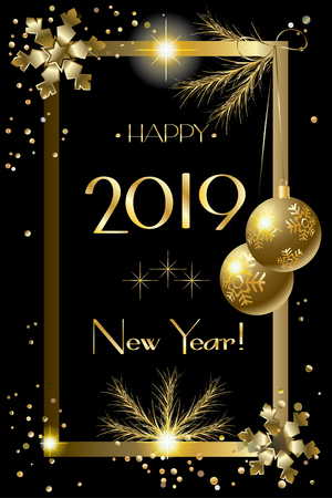 2019 Happy New Year Gold Decorative elements, Greeting Card