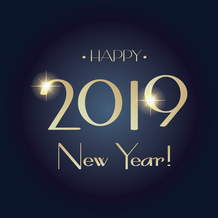 2019 New Year Holiday gold text, night event, elegant card Ilustrace
