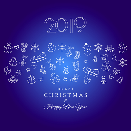 2019 Happy New Year Greeting card Invitation with Christmas Winter Holiday icons. Illustration