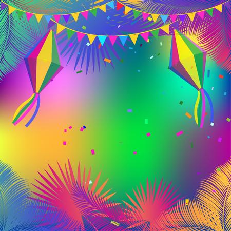 Brazilian Festival Festa Junina carnival fireworks, lanterns, tropical frame