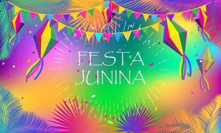 Brazilian Festival Festa Junina carnival fireworks greeting card
