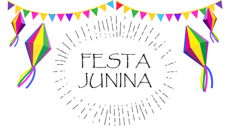 Festa Junina - calligraphy text, invitation card design, Brazil Carnival